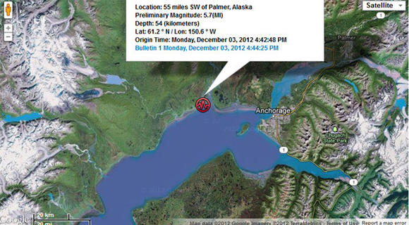 Earthquake near Anchorage