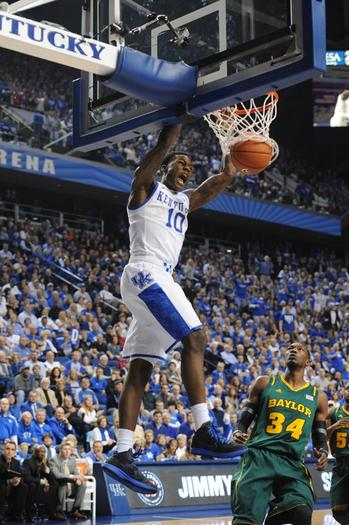 Archie Goodwin slams home the ball during Kentucky's loss to Baylor Saturday at Rupp Arena.