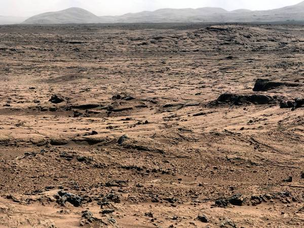 An image of the Mars landscape taken by the Curiosity rover. Scientists say the rover may have found signs of organic compounds, but they aren't sure.