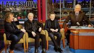 "<span style=""font-size: small;"">Robert Plant, Jimmy Page and John Paul Jones of Led Zeppelin and CBS' Late Show host David Letterman swapped one-liners last night during the band's very rare joint appearance on late-night television. Early in the interview, Letterman asked his fellow Kennedy Center Honorees if they'd ever received a comparable award in the UK and all three in unison simply said ""No!"" Laughs ensured, and later Letterman asked the band about the influence Buddy Guy (another freshly minted Kennedy Center Honoree) and other bluesmen had on Led Zeppelin's sound. Page said Guy, Sonny Boy Williamson, Muddy Waters and other legendary bluesman had a huge influence on his and Jeff Beck's playing. Meanwhile, Plant added Gene Vincent, Eddie Cochraneand Elvis Presley's names into the early influence conversation, recalling the one time the band met ""The King,"" saying, ""Elvis had a lot of chicks."" Letterman immediately quipped, ""That's something you all had in common."" Finally, Letterman expressed how cool it was to have been able to hang out and get to know the three of them as part of the entire Kennedy Center Honors celebration, and jokingly added, ""I feel like I ought to be in the band, don't you think?"" A deadpan Jones quickly replied, ""No!"" See some of the interview <a href=""http://www.cbs.com/shows/late_show/video/2312303684/david-letterman-led-zeppelin-s-viking-sex-music"">here</a>.</span>"