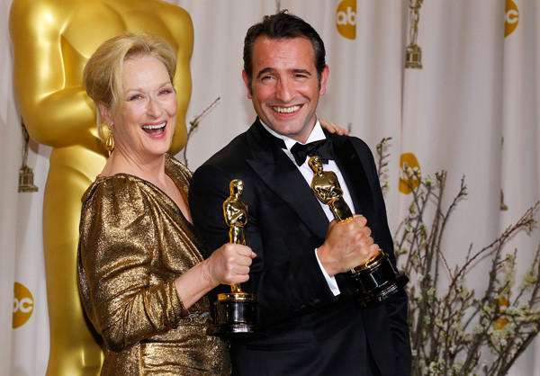 "Movies ""The Artist"", starring ""Best Actor"" winner Jean Dujardin, pictured, and ""The Iron Lady"", starring ""Best Actress"" winner Meryl Streep, also pictured, won big at this year's Academy Awards ceremony, held on Feb. 26."