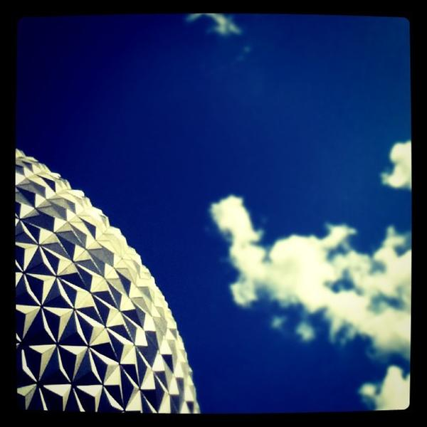 The geodesic dome of Spaceship Earth at Epcot. <b>#thedailydisney</b>
