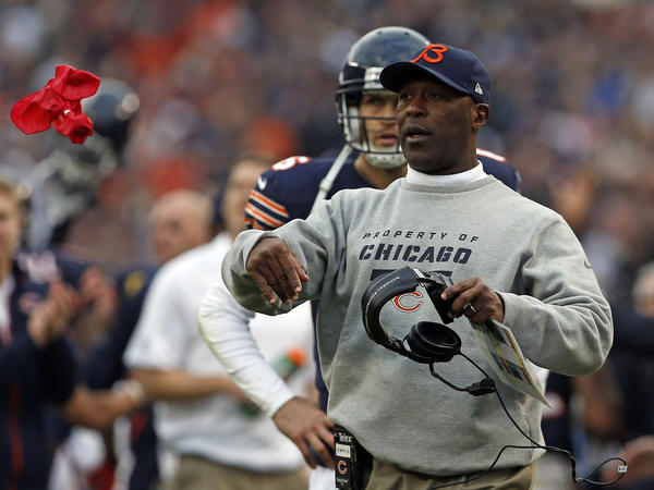 Bears coach Lovie Smith throws a challenge flag during the third quarter Sunday against the Seattle Seahawks at Soldier Field.