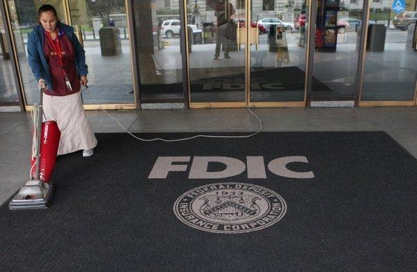 Outside the Federal Deposit Insurance Corp. (FDIC) headquarters in Washington, D.C., in October.