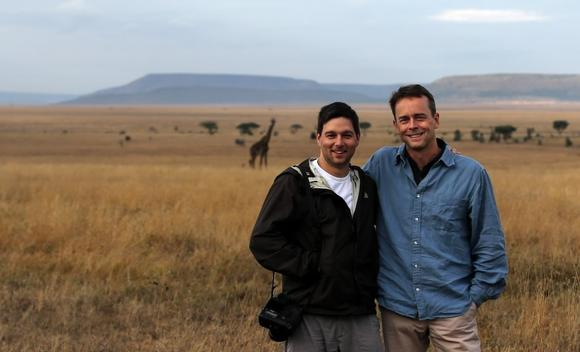 Chicago Tribune photographer Chris Sweda (left) and Chicago Tribune reporter Steve Johnson in Tanzania's Serengeti National Park on Wednesday, October 10, 2012.