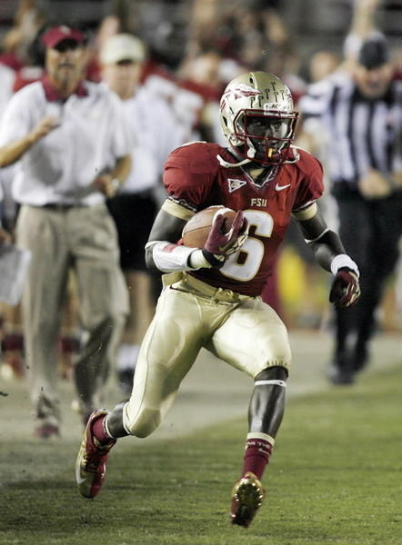 FSU defensive back Nick Waisome runs after he intercepted a Clemson pass late in the game during the Clemson at Florida State University football game at Doak Campbell Stadium in Tallahassee on Saturday, September 22, 2012. FSU won the game 49-37.