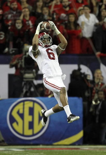 Dec 1, 2012; Atlanta, GA, USA; Alabama Crimson Tide defensive back Ha'Sean Clinton- Dix (6) catches an interception against the Georgia Bulldogs during the second quarter of the 2012 SEC Championship game at the Georgia Dome.