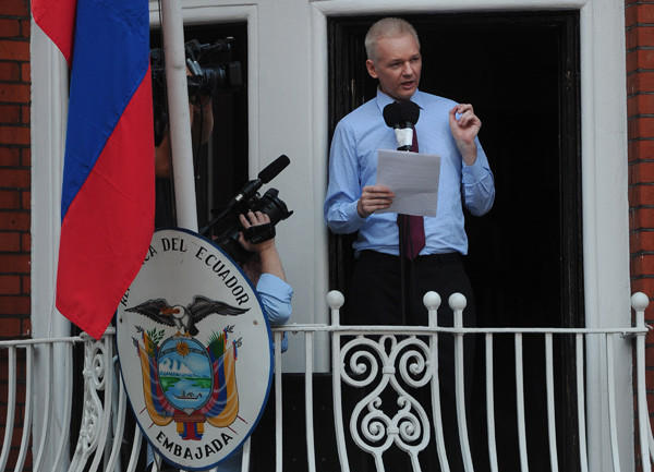 After unsuccessfully fighting extradition from Britain to Sweden for questioning on sexual assault charges filed by two different women, Wikileaks chief Julian Assange took refuge in Ecuador's London embassy on June 19, setting up a standoff between Ecuador and Britain.  Ecuador later granted Assange asylum and he remains holed up at the Ecuadorian embassy in London.