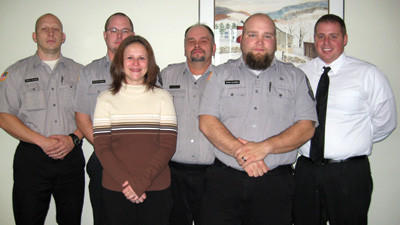 The Somerset County Prison Board honored jail staff on Tuesday. Front, from left: former employee Jodi Liston and corrections officer Michael Alexander. Back: corrections officers Mark Nicholson, Jeff Barna and Teri Reed and Warden Greg Briggs.