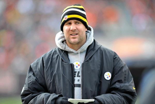 Pittsburgh Steelers quarterback Ben Roethlisberger (7) walks on the sideline in the first quarter against the Cleveland Browns at Cleveland Browns Stadium. Mandatory Credit: