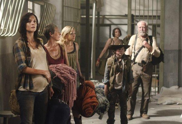 """Walking Dead"" cast members Sarah Wayne Callies, Melissa Suzanne McBride, Emily Kinney, Lauren Cohan, Chandler Riggs and Scott Wilson."
