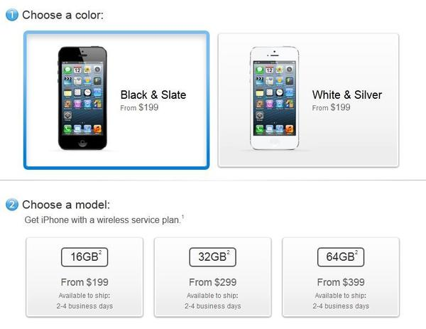 Shipping wait times for orders of the iPhone 5 on Apple.com have been considerably reduced.