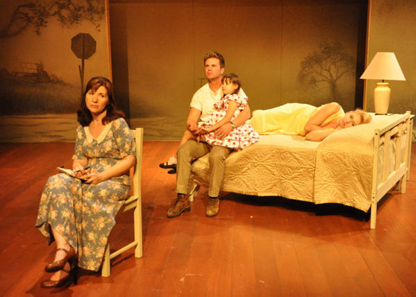 "Laura Richardson, left, Aaron McPherson, Talyan Wright and Laetitia Leon in ""The Land of the Astronauts,"" one of two one-acts in ""Foote Notes"" at Open Fist Theatre."