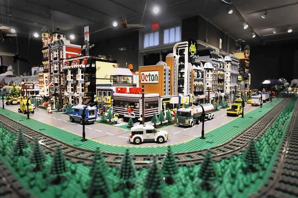 A display of Main Street in a massive LEGO display at The Stamford Museum and Nature Center in Stamford. The 500,000 piece construction assembled by Bill Probert and friends has scenarios from busy Main Street to outer space over 350 square feet.