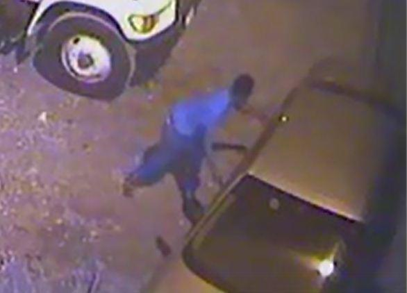 Battery theft suspect realizes he just locked himself out of the getaway car.