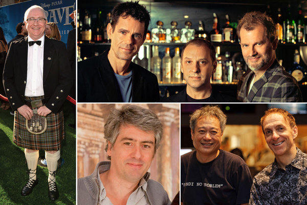 "Clockwise: For ""Brave,"" composer Patrick Doyle reached back to his roots. For ""Cloud Atlas,"" filmmaker Tom Tykwer, left, asked composers Johnny Klimek, center, and Reinhold Heil to create what was described in the movie's stories as one of the greatest works ever composed. Ang Lee, right, asked composer Mychael Danna to create a sense of awe in ""Life of Pi."" Dario Marianelli was the composer for ""Anna Karenina."""