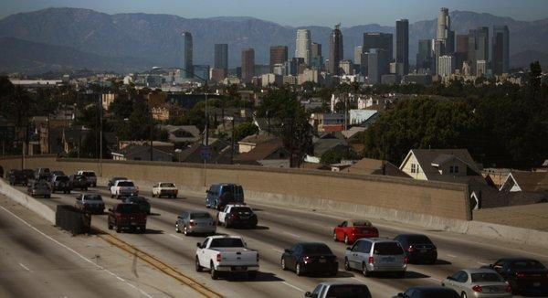 Traffic travels north on the Harbor Freeway in Los Angeles. Vehicles are one source of fine particle air pollution.
