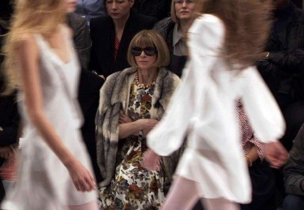 "Anna Wintour, editor of Vogue, in her customary front-row seat at a fashion show -- as seen in a clip from the documentary ""The September Issue."""