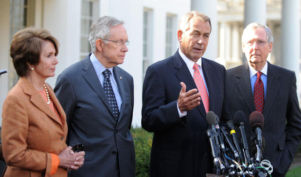 House Speaker John Boehner addresses the media as House Minority Leader Nancy Pelosi, Senate Majority Leader Harry Reid and Senate Minority Leader Mitch McConnell look after a Nov. 16 meeting with President Obama on strategies to avert the fiscal cliff.