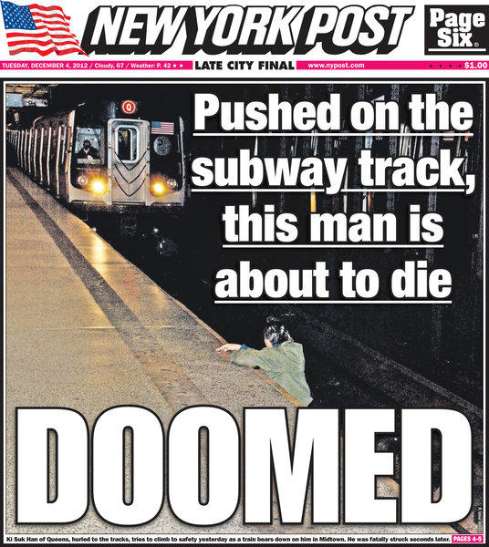 The New York Post has been criticized for publishing the photograph of
