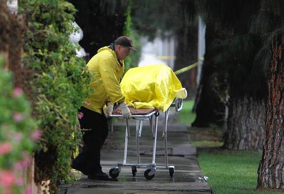 The bodies of two men and two women were found outside a home on Devonshire Street in Northridge early Sunday.