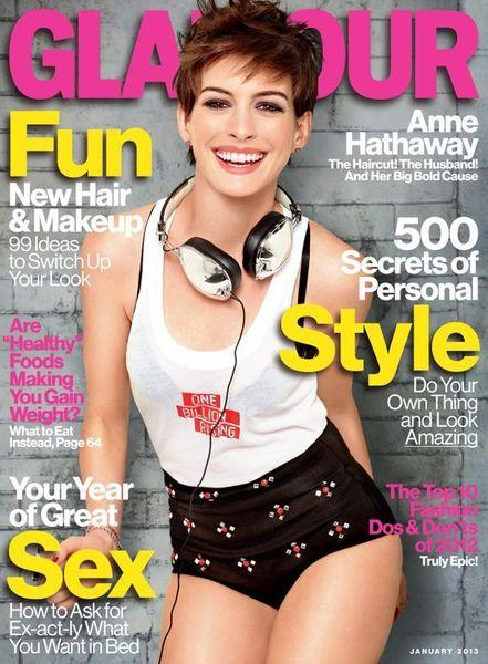 Anne Hathaway on Glamour's January cover.