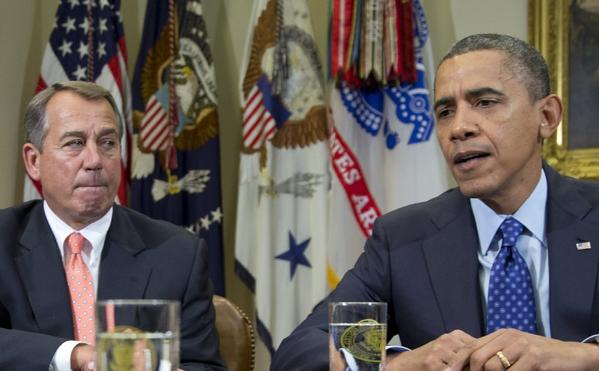 "President Obama and House Speaker John Boehner speak to reporters in November after meeting to negotiate a deficit reduction package that would avert the ""fiscal cliff."""