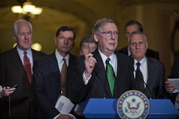 Senate Minority Leader Mitch McConnell speaks about the fiscal cliff in a news conference in Washington on Tuesday.