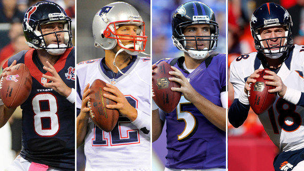 The quarterbacks of the top four teams in the AFC playoff race (as it stands heading into this weekend): Houston's Matt Schaub, New England's Tom Brady, the Ravens' Joe Flacco and Denver's Peyton Manning.