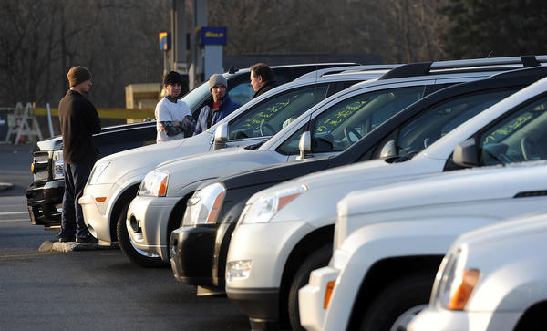 Consumers browse the used cat lot at Wind Gap Chevrolet-Buick Tuesday. Used car values and sales are on the rise due to Super Storm Sandy.