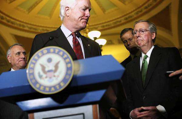 """I think it's important that the House Republican leadership is trying to move the process forward,"" Senate Minority Leader Mitch McConnell (R-Ky.), right, said of his colleagues' counteroffer to the White House to avoid the ""fiscal cliff."""