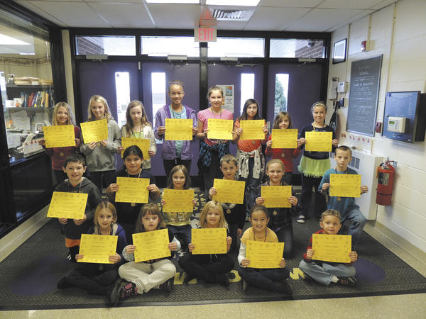 The following Old Forge Elementary School students exhibited the Character Counts! pillar of responsibility for the month of October. Row one, from left, Adrianna Miller, Laura Giffin, Bethany Starnes, Payton Dietrich and Preston Githens. Row two, Justin Poole, Adelia Martinez Mann, Chloe Notabartolo, Nate Ellis, Lily Proctor and Evan Smith. Row three, Olivia Miller, Morgan Domenico, Jillian Jerwick, Ashley Pate, Bradley Powers, Megan Goodmansen, Rachel Trumpower and Erin Bryce. Absent from the picture are Caydon Quirion, Kaleb Little and Diana McNeil.