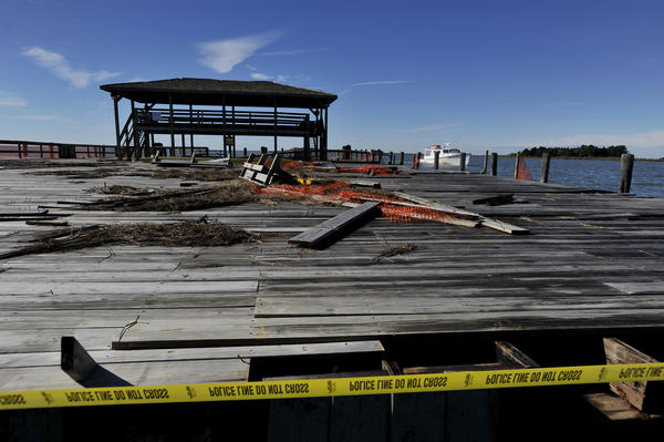 The Crisfield City Dock and a number of the area's homes were damaged by Sandy, but the federal government has denied FEMA aid to Maryland.