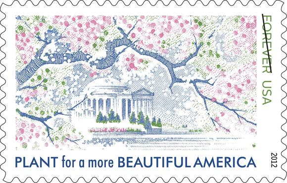 "A stamp honoring Lady Bird Johnson features cherry blossoms and a ""plant"" message."