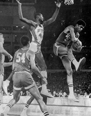 UCLA's Lew Alcindor grabs a rebound in front of Houston's Elvin Hayes during their 1968 clash in the Astrodome.