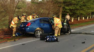 A utility truck and a car collided head-on Wednesday morning in Noblesville, leaving two people injured.