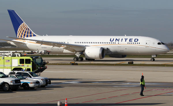 The United Airlines 787 Dreamliner 2 arrives in Chicago's O'Hare International Airport after making its inaugural flight from Houston in early November.