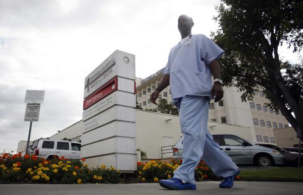 The emergency room ambulance entrance at Centinela Hospital Medical Center in Inglewood, Calif.