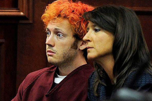 James Holmes appears with defense attorney Tamara Brady before Arapahoe County District Court Judge William B. Sylvester in Centennial, Colo.