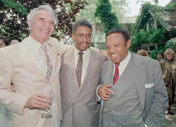 Dave Brubeck, left, joined fellow jazz legends Herbie Hancock and Lionel Hampton at a luncheon honoring Hancock at New York's Tavern on the Green in June 1987.