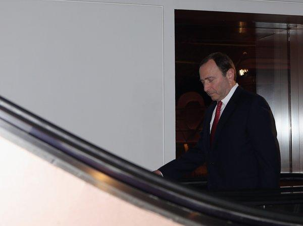 NHL Commissioner Gary Bettman arrives for a negotiation session with the NHL Players' Assn. in New York.