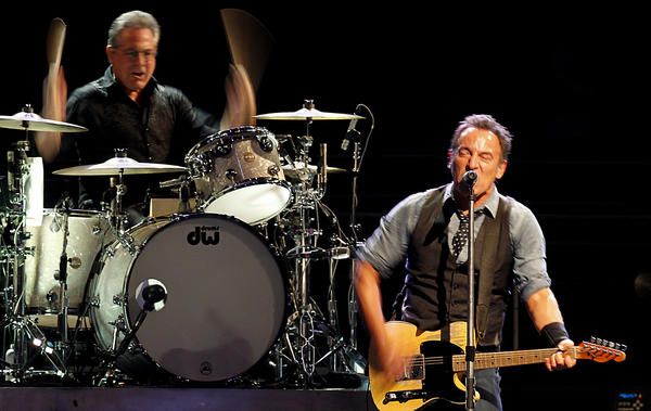 Bruce Springsteen, right, with E Street Band drummer Max Weinberg at the Honda Center in Anaheim on Dec. 4.