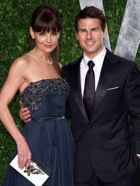 Katie Holmes and Tom Cruise attend the 2012 Vanity Fair Oscar party, held at the Sunset Tower Hotel in West Hollywood, on Feb. 26