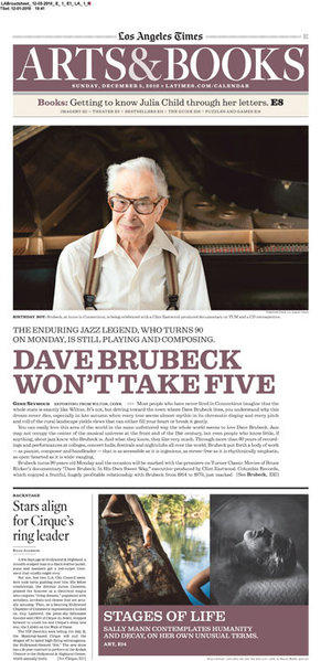 The cover of the Sunday Calendar Arts & Books section on Dec. 5, 2010 featured a profile on the jazz composer Dave Brubeck
