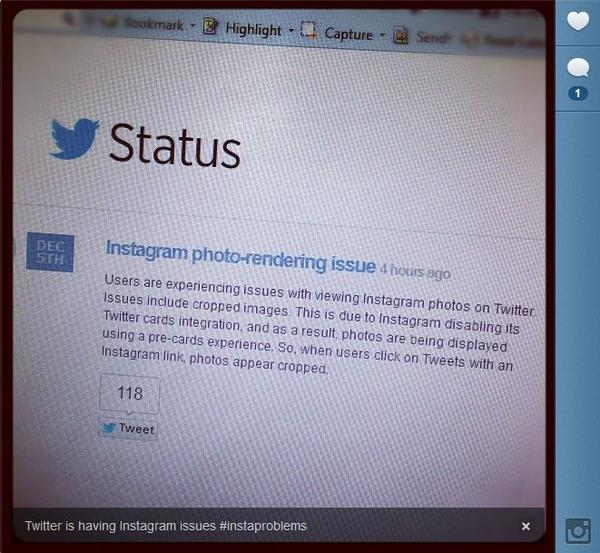 An Instagram shot of Twitter's status regarding Instagram issues.