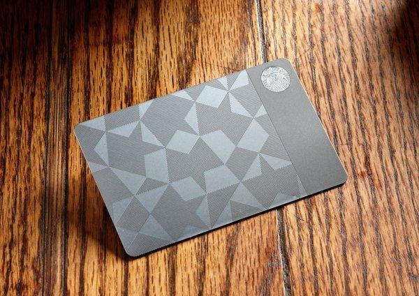 Starbucks' stainless steel gift card, which costs $450.