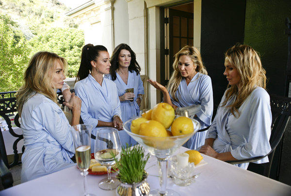 "Taylor Armstrong, left, Kyle Richards, Lisa Vanderpump, Adrienne Maloof, Brandi Glanville of Bravo's ""Real Housewives of Beverly Hills."" The network is now looking to make its stamp with scripted series."
