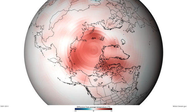 Red shading shows the difference in average temperature in the Arctic from the period 2001-2011 compared with the long-term average of 1971-2000.