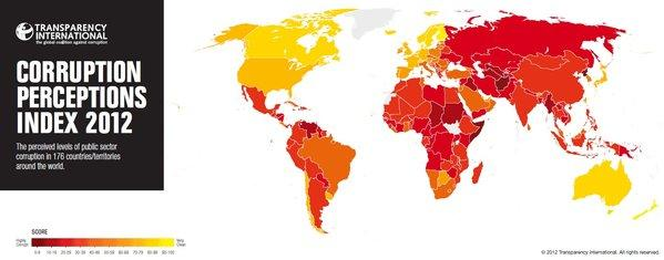 Countries perceived to be less corrupt are depicted in lighter colors on a map created by Transparency International.