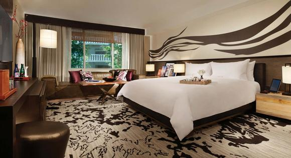 A king room at the Nobu Hotel, inside Caesars